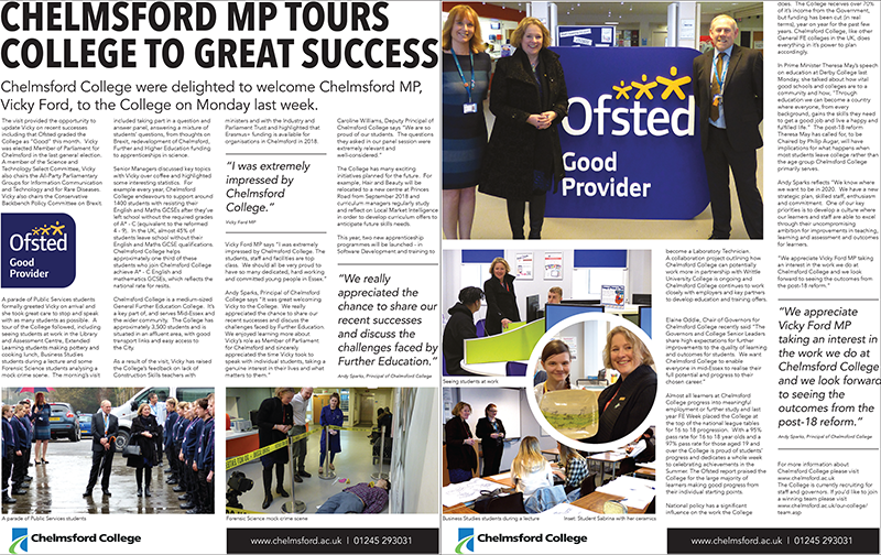 Chelmsford MP tours College to great success